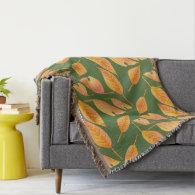 Orange Fall Leaves Custom Throw Blanket