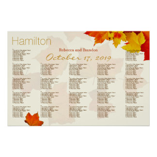 Orange Fall Leaves Seasonal Wedding Seating Chart