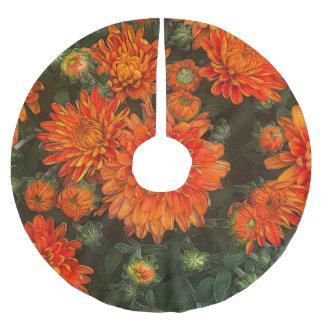 Orange Fall Mums Brushed Polyester Tree Skirt
