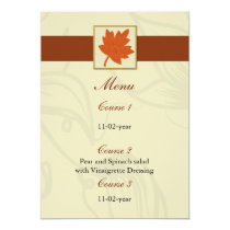 orange fall wedding menu card