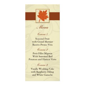 orange fall wedding menu rack cards