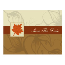 orange fall wedding save the date announcement postcard