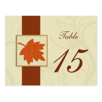orange fall wedding table numbers postcards