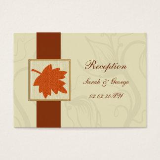 orange falling maple leaf  wedding Reception Cards