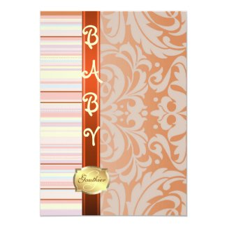 "Orange Fanciful Pinstripe Baby Shower Invitation 5"" X 7"" Invitation Card"