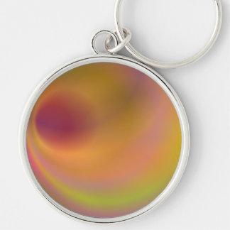 Orange fantasy sky Silver-Colored round keychain