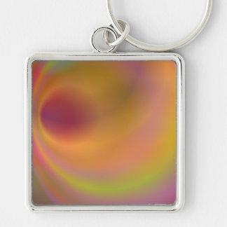 Orange fantasy sky Silver-Colored square keychain