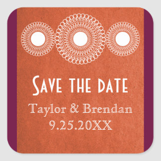 Orange Far East Elegance Save the Date Stickers