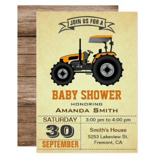Orange Farm Tractor Baby Shower Invitation