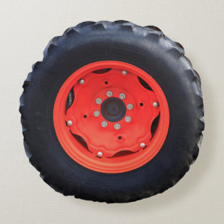 Orange Farm Tractor Tire Round Pillow