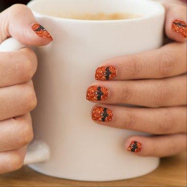 Halloween Themed Orange Faux Glitter and Black Bat Halloween Nails Minx Nail Wraps
