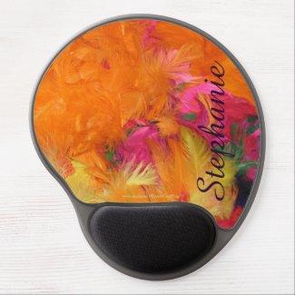Orange Feathers Personalized Custom Gel Mousepad