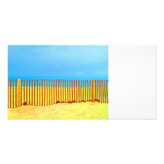 orange fence yellow beach blue sky florida card