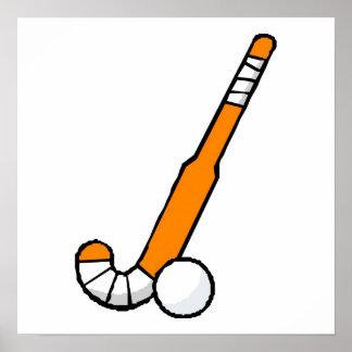 Orange Field Hockey Stick Poster