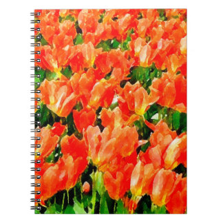 Orange field of tulips notebook