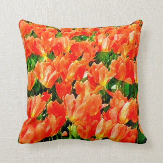 Orange field of tulips throw pillow