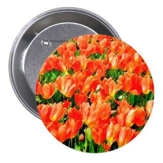 Orange field of tulips pinback button