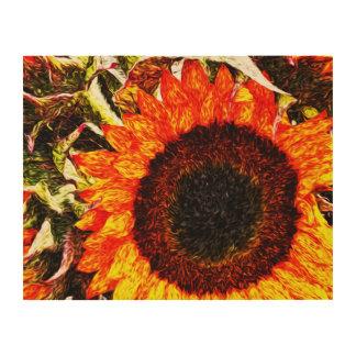 Orange Fiery Sunflower Painting Wood Wall Art