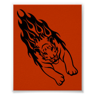 ORANGE FIRE FAST TIGER SPORTS TEAM GANGS LOGO POSTER