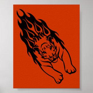 ORANGE FIRE FAST TIGER SPORTS TEAM GANGS LOGO POSTERS