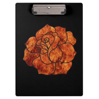 Orange Fire Rose Clipboard