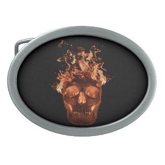 Orange Fire Skull Belt Buckle
