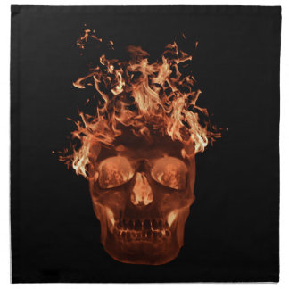 Orange Fire Skull Napkins