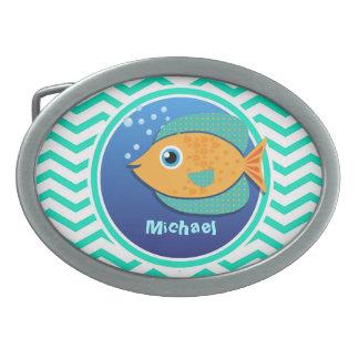 Orange Fish; Aqua Green Chevron Oval Belt Buckle