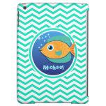 Orange Fish; Aqua Green Chevron Cover For iPad Air
