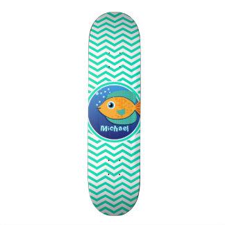 Orange Fish; Aqua Green Chevron Skateboard