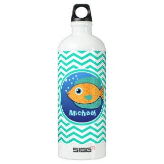 Orange Fish; Aqua Green Chevron Water Bottle