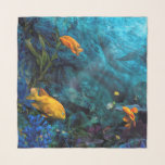 """ORANGE FISH BLUE OCEAN SCARF<br><div class=""""desc"""">The bright orange Garibaldi fish of the famous La Jolla Shores Cove in San Diego,  CA are easily spotted in the beautiful blue Pacific ocean wonderland. They are quite the curious fish and will come right up to you,  take a splash down under there,  it's a pleasure worth experiencing!</div>"""
