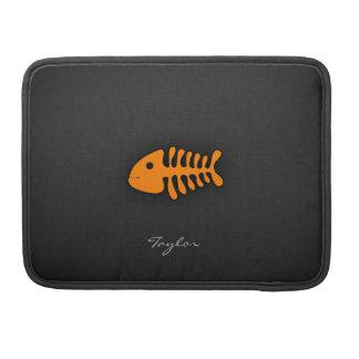 Orange Fish Bones Sleeve For MacBook Pro