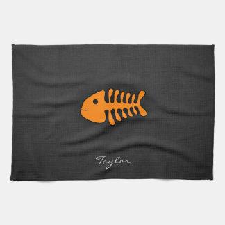 Orange Fish Bones Towels