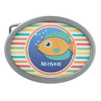 Orange Fish; Bright Rainbow Stripes Oval Belt Buckle