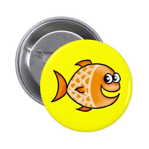 Orange fish pinback button