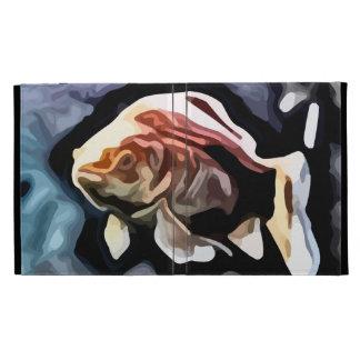 orange fish deep swimming painting iPad folio cases