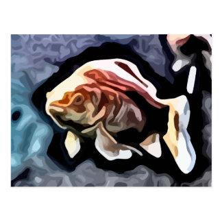 orange fish deep swimming painting postcard