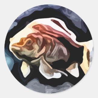 orange fish deep swimming painting round sticker