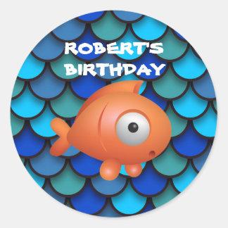 Orange Fish on Blue Under the Sea Birthday Classic Round Sticker