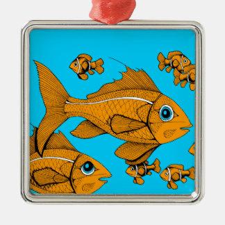 Orange Fish Square Metal Christmas Ornament