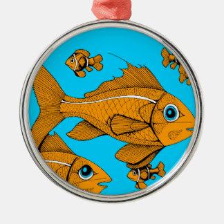 Orange Fish Round Metal Christmas Ornament
