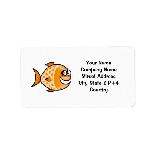Orange fish return address address label