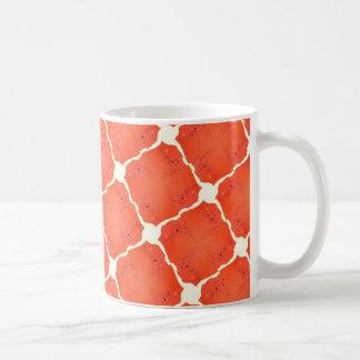 Orange Fishing Net Mosaic Tile Grid Pattern Gifts Mug