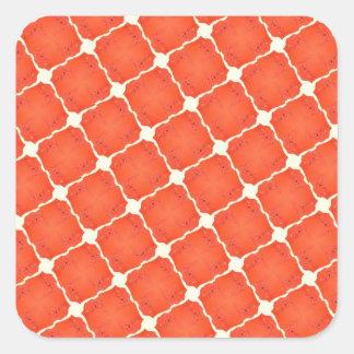 Orange Fishing Net Mosaic Tile Grid Pattern Gifts Square Sticker
