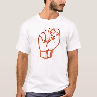 orange fist, on orange t-shirt