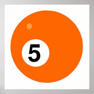 Orange Five Billiards Ball Posters