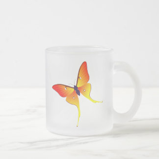 Orange Flame Butterfly Frosted Glass Mug Small
