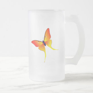 Orange Flame Butterfly Large Frosted Glass Mug