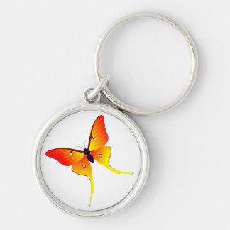 Orange Flame Butterfly Premium Round Keychain